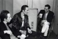 HAMBURG, GERMANY - MAY 12: The Clash relax backstage at the Musikhalle in Hamburg, Germany on May 12 1981 L-R Topper Headon, Joe Strummer, Mick Jones (Photo by Ellen Poppinga - K & K/Redferns)