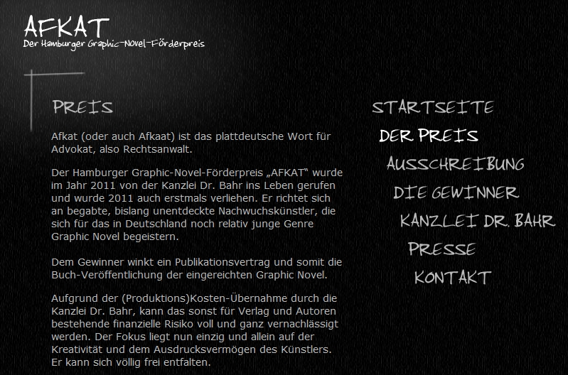 "Hamburger Graphic-Novel-Förderpreises ""Afkat"""